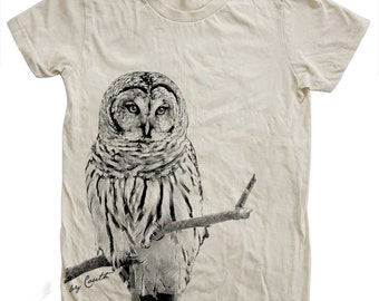 Women OWL Tshirt Custom Hand Screen Print Crew Neck Available: S, M, L, Xl, 2Xl