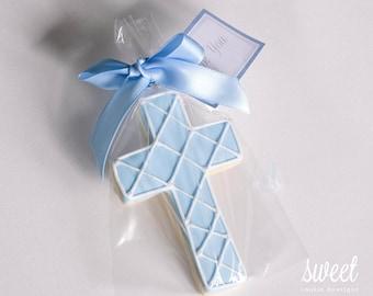 Baby Boy Cross Cookie Favors // One Dozen Sugar Cookies