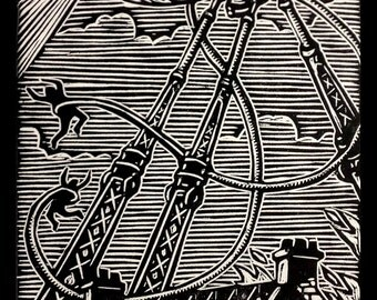 War of the Worlds Woodblock Print