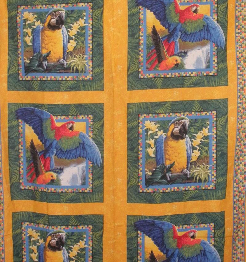 Parrot Fabric Bird Fabric Pillow Panels 1 Panel Of 6 Blocks