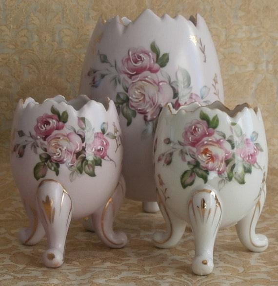 Vintage Easter Porcelain Egg Vases Hand Painted Flowers