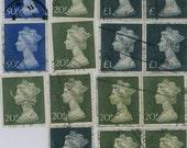 Queen Elizabeth ll British postage stamps scrapbooking embellishment supplies vintage lot
