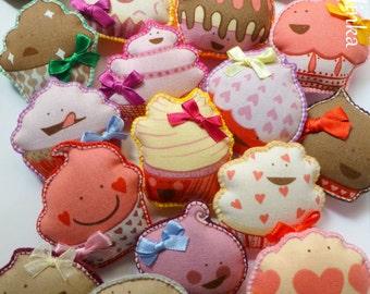 "SALE 50%  Cute ""Cupcake"" Hand-stitched Felt Brooch, Handmade Felt Applique/Embellishment"