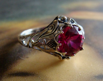 Art Nouveau design Sterling Silver Ruby  Ring  Size 5.75