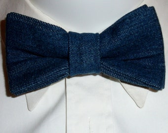 Denim bow tie. Blue jean denim bowtie