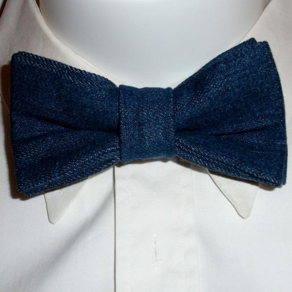 denim bow tie blue jean denim bowtie