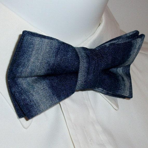 faded bleached denim bow tie distressed denim