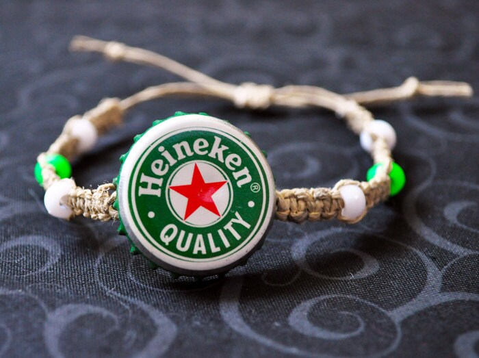 Heineken beer recycled bottle cap hemp bracelet hemp jewelry for Beer cap jewelry