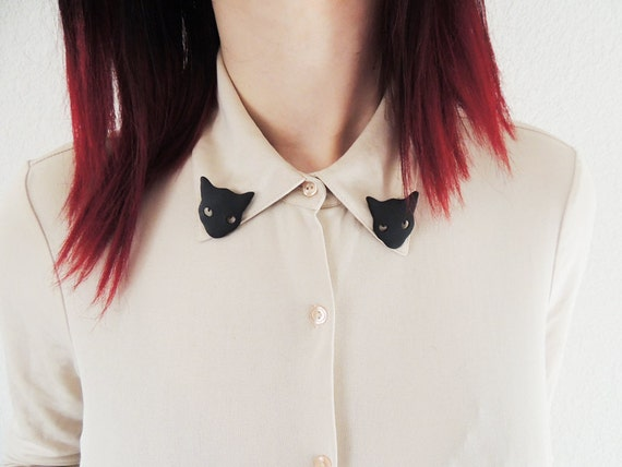 SALE Black Cat Collar Clips