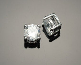 3015012 / Rhodium Plated Brass Framed Cubic Zirconia Connector 6mm / 0.7g / 2pcs
