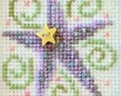 Counted Cross Stitch Pattern Yippee SamSarah Design Studio Purple Star Green Swirls Charted Design Needlework Star Button