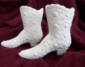 SALE was 22.00 now 17.00 Pair of Stamped Fenton White Milk Glass Boots in Daisy and Button Pattern
