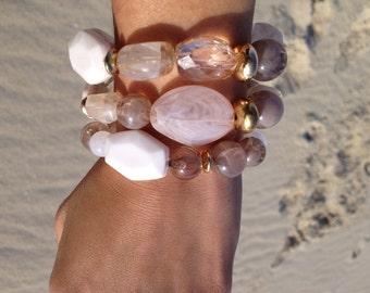 Stretchy Summer bracelet: pastels, gold beads, quarts