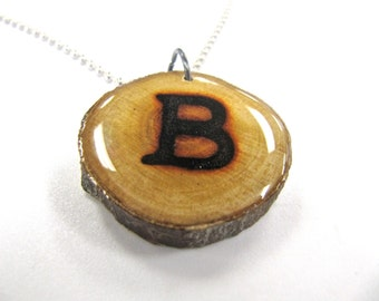 Initial Necklace, Reclaimed Wood, Letter B Necklace