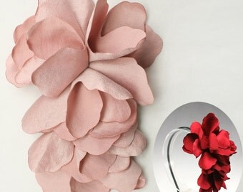Satin Flower Motif Corsage Brooch for Headband, Hair Accessories, Hat, Hair Clips or more Accessories Handmade Annielov Flower07-pink