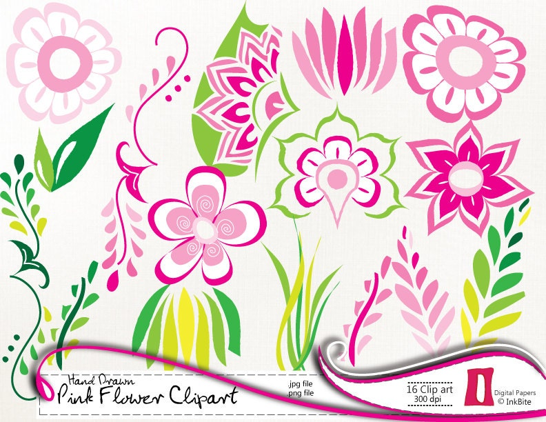 Azalea Flower Clipart Pink flowers clipart, digital