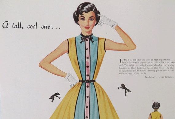 Vintage women's clothing advertising card mid-century