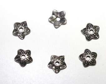 25 PCs silver 11mm bead caps PK043