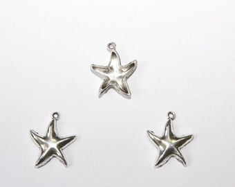 5 Pcs. charms / metal pendants Starfish / 20x25mm / antique silver tone A132