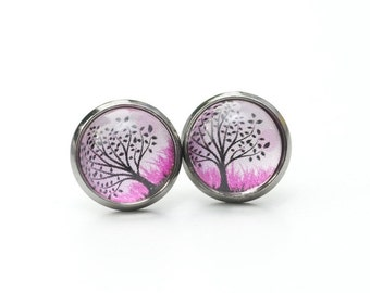 "Black studs ""Sunset tree"""