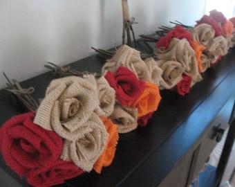 Burlap Bouquet  / Qty 7 Wedding bouquets  Forever flower