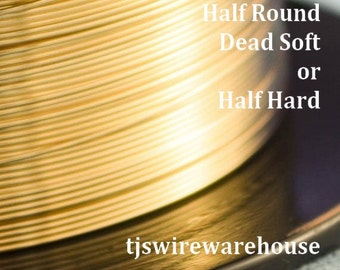 14k Gold Filled Wire, 14, 16, 18,  20, 21ga, HALF ROUND, Dead Soft, Half Hard, Length Choice
