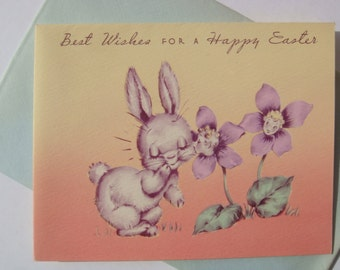 Vintage Easter Card - Easter Bunny Kisses Floral Greeting Card - Unused with Envelope - By Rust Craft