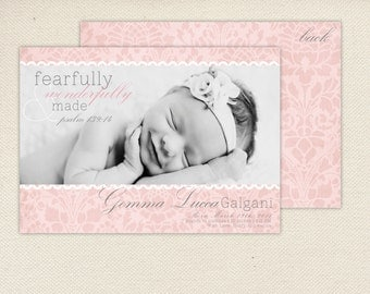 Christian Birth Announcement with verse - Fearfully and Wonderfully made