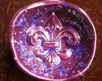 Fleur de Lis royal purple and blue handmade Pottery Bowl