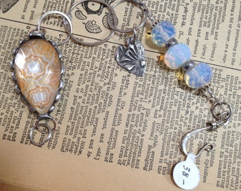 Yellow Vintage Chandelier Crystal Bracelet with Hand Stamped Heart B-013