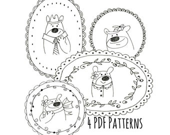 Bear Family Embroidery Pattern Set of Four Woodland Animal Digital Downloadable PDF Hand Embroidery 0073