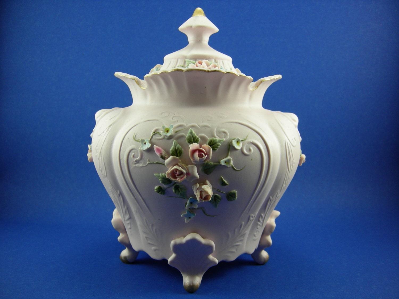 Vintage Lefton Urn Jar Vase Porcelain Pink