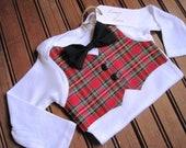 First Birthday Plaid Vest & Black Bow Tie Onesie, Vest Onesie, Bow Tie Onesie, Bowtie Onesie, Baby Birthday Onesie, First Birthday Onesie