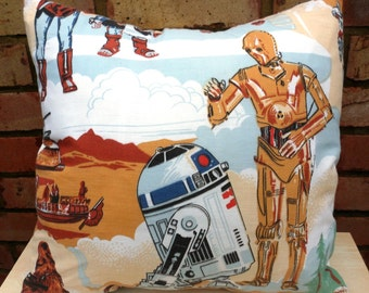 Star Wars R2D2 & C3PO Vintage Fabric Cushion Selection - handmade by Alien Couture