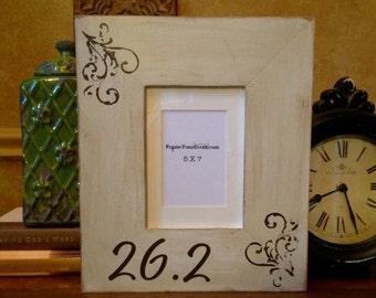 Marathon 26.2  Cream Picture frame 5 x 7