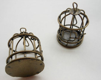 4 pc of Antique Bronze 3D Bird Cage Pendants Charms Size:30mmx40mm