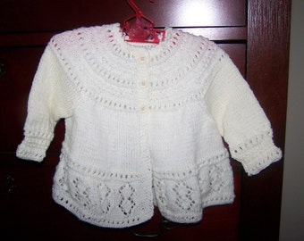 hand knit ivory baby sweater