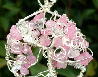 Sterling Silver and Rose Quartz Tree of Life Pendant