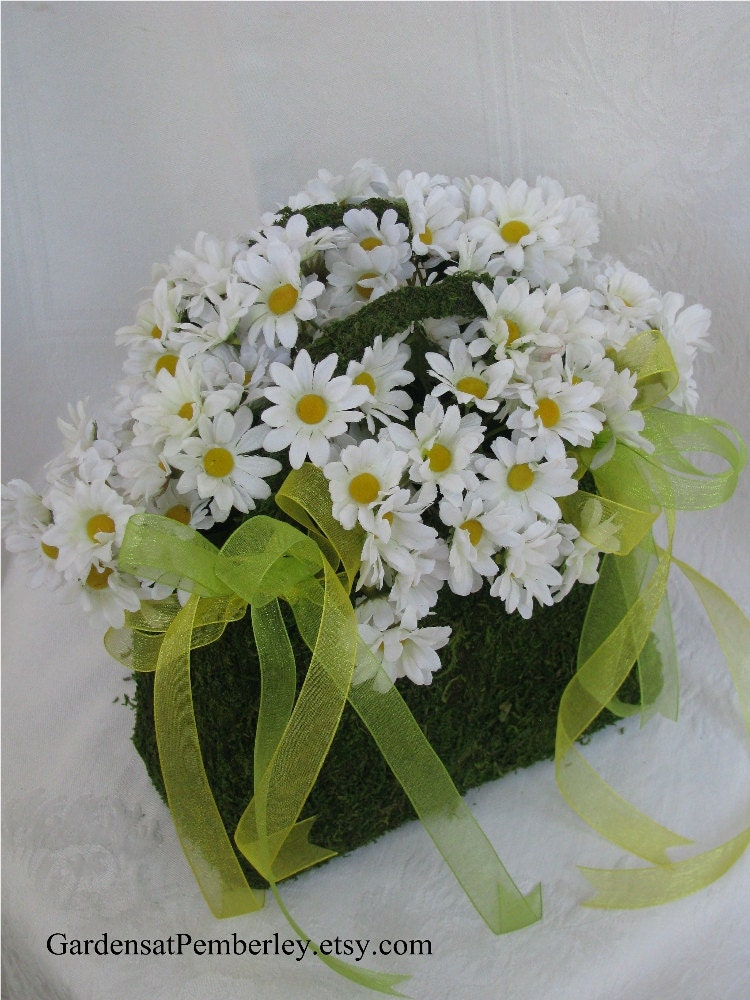 Flower Girl Basket Moss : Daisy silk moss purse flower girl wedding basket