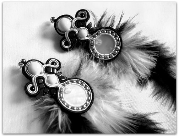 Black & White  soutache earrings with feathers, HANDICRAFT