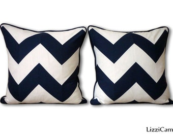 Chevron cushions / Navy white cushion covers / Nautical decor / cushions / pillows