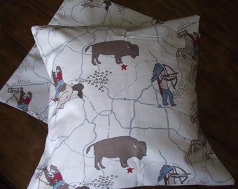 Cowboys and Indians fabric pillow cover