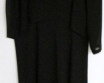 Vintage Caron of Chicago Long Black Chiffon Dress with rhinestone trim