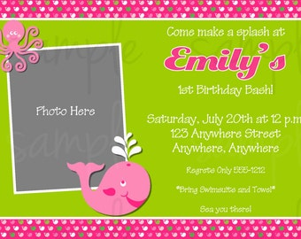 Preppy Whale Girl Birthday Invitation