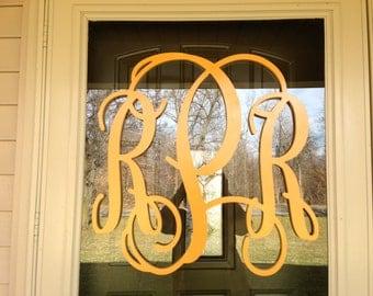 "24"" Vine Script Three Letter Monogram- Wood Letter monogram-home decor- wedding decor"