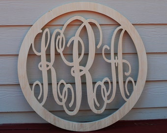 "22"" Vine Script Three Letter Monogram with Border- Wood Letter monogram-home decor- wedding decor- monogram letter interlocking"