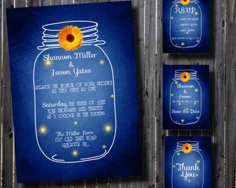 Mason Jar Wedding Invitation Suite-Printable-Country-DIY-Rustic- Whimsical-DIY-Set-print your own-Blue-Daisy Accent