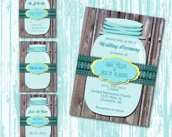 DIY Printable Wedding Invitation Suite-Mason Jar- Country-Rustic-Wood-DIY-Set-Teal Yellow