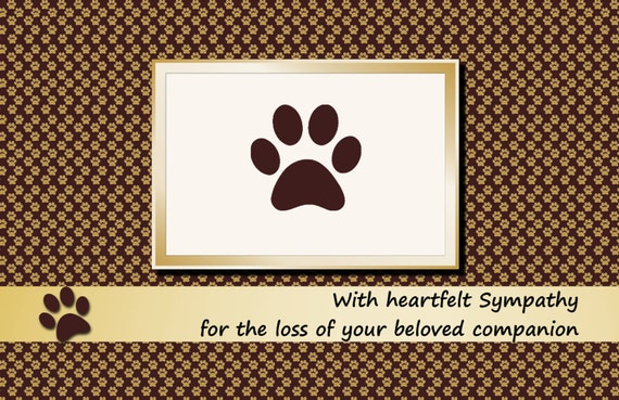 Printable Pet Sympathy Card Dog Cat Brown Folded Paw