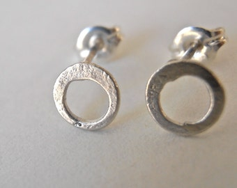 Little circle studs sterling silver organic round shape. custom made, hand made